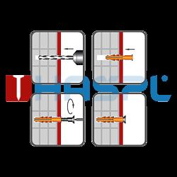 Rahmendübel RMS 8x60mm, nylon+ Schraub mit Sechskantkopf - 2