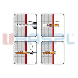 Rahmendübel RMS 8x140mm, nylon+ Schraub mit Sechskantkopf - 2