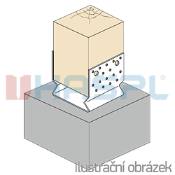 Pfostenlasche Form U mit Rippe 120x120x4,0 - 2