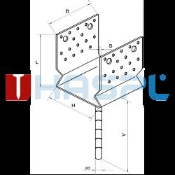 Stützenfuss Form U mit Rippe 90x80x4,0 - 3