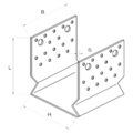 Pfostenlasche Form U mit Rippe 140x120x4,0 - 3/3